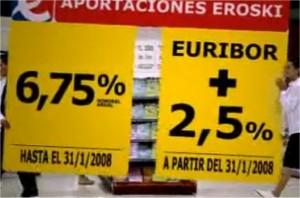 Imagen del anuncio televisivo donde se publicitaban las preferentes de Eroski FUENTE Youtube