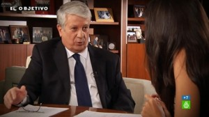 Arturo Fernandez en un momento de la entrevista de Ana Pastor en El Objetivo de La Sexta TV FUENTE lasexta.com