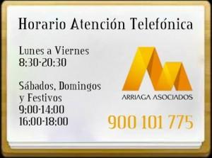 Horario de atencion telefonica de Arriaga Asociados FUENTE arriagaasociados.com