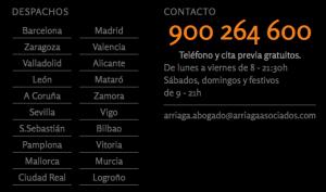 Por telefono, por mail o por correo postal puede contactar con Arriaga Asociados para reclamar las acciones de Bankia FUENTE arriagaasociados.com