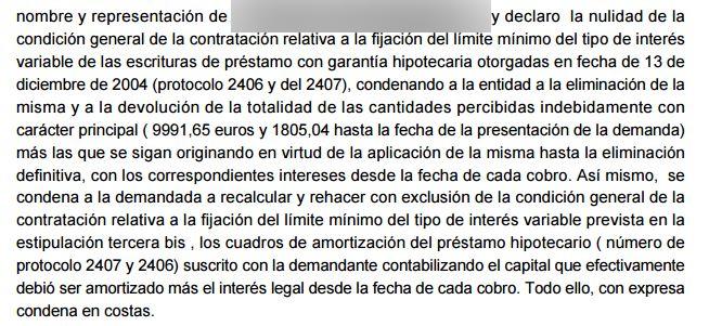 Retroactividad total en cl usula suelo arriaga asociados for Sentencia sobre clausula suelo hipotecas