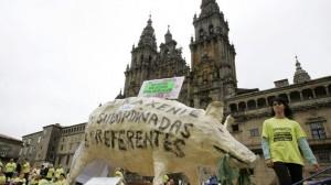 preferentistas gallegos en la plaza de Santiago