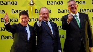 Francisco Verdu junto a Jose Luis Olivas y Rodrigo Rato en la salida a Bolsa de Bankia FUENTE Diario ABC