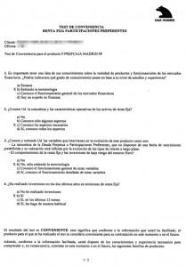 Test de idoneidad rellenado por Caja Madrid Bankia FUENTE Diario El Mundo