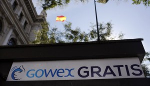 A sign advertising Spanish wireless networks provider Gowex is seen outside the Bank of Spain in Madrid