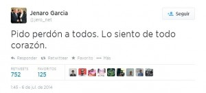 Jenaro Garcia pidio perdon en Twitter