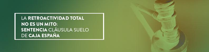 Sentencia ganada sobre la retroactividad de la Cláusula Suelo de Caja España. Nuestra experiencia y compromiso sigue sumando éxitos, entra y contáctanos.